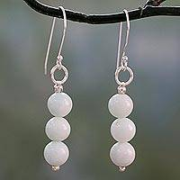 Amazonite dangle earrings, 'Sheer Delight' - Hand Crafted Amazonite and Sterling Silver Dangle Earrings