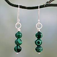 Malachite dangle earrings, 'Green Pebbles' - Artisan Made Malachite and Sterling Silver Dangle Earrings