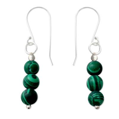 Artisan Made Malachite and Sterling Silver Dangle Earrings