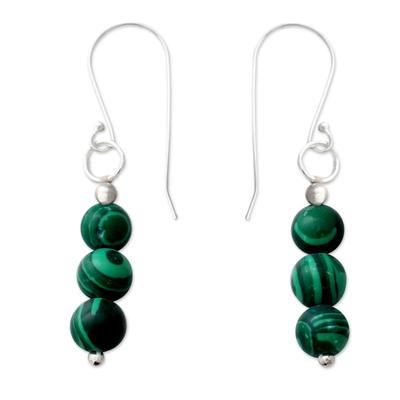 Malachite dangle earrings, 'Green Pebbles' - Artisan Made Malachite and Sterling Silver Dangle Earrings