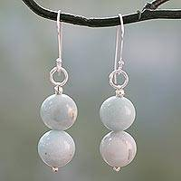 Amazonite dangle earrings, 'Compassion' - Hand Crafted Amazonite and Sterling Silver Dangle Earrings