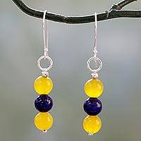 Lapis lazuli and quartz dangle earrings, 'Sunshine Allure' - Handmade Lapis Lazuli and Quartz Silver Dangle Earrings