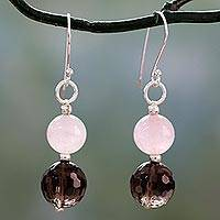 Smoky quartz and rose quartz dangle earrings, 'Earthy Love' - Rose Quartz and Smoky Quartz Dangle Earrings from India