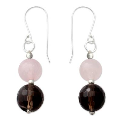 Rose Quartz and Smoky Quartz Dangle Earrings from India