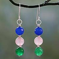 Quartz dangle earrings, 'Festive Holi' - Handmade Dyed Quartz and Rose Quartz Dangle Earrings