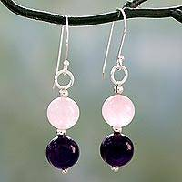 Amethyst and rose quartz dangle earrings, 'Dreamy Affair'