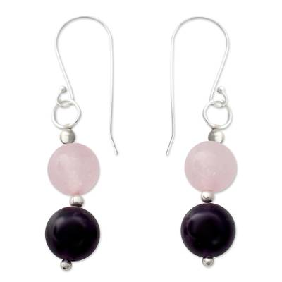 Amethyst and rose quartz dangle earrings, 'Dreamy Affair' - Hand Crafted Amethyst and Rose Quartz Dangle Earrings
