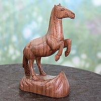 Wood sculpture, 'Joyful Horse' - Hand Carved Walnut Wood Sculpture of Horse from India