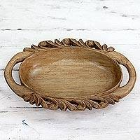 Wood tray, 'Oval Beauty' - Hand Crafted Wood Oval Tray with Leafy Motif