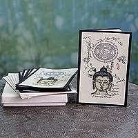 Handmade paper greeting cards, 'Serene Buddha' - Set of 6 Handmade Paper Greeting Cards with Buddha Motif
