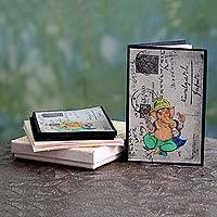 Handmade paper greeting cards, 'Pious Ganesha' (set of 6) - Set of 6 Handmade Paper Greeting Cards with Ganesha