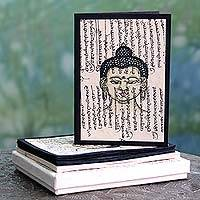 Handmade paper greeting cards, 'Tranquility' - Set of 6 Hand Crafted Paper Greeting Cards with Buddha