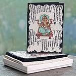 Set of 6 Hand Crafted Paper Greeting Cards with Ganesha, 'Lalitasana'
