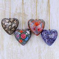 Papier mache ornaments, 'Season of Love' (set of 4) - 4 Floral Hearts Artisan Crafted Papier Mache Ornaments Set