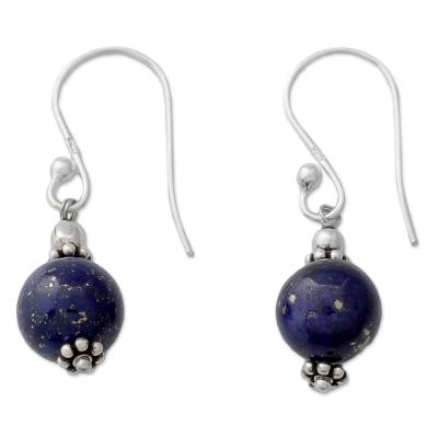 Petite Lapis Lazuli Dangle Earrings with Sterling Silver