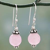 Chalcedony dangle earrings, 'Royal Discretion' - Pink Chalcedony Dangle Earrings with Sterling Silver