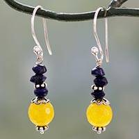 Lapis lazuli and chalcedony dangle earrings, 'Color Distinction' - Indian Handcrafted Earrings with Chalcedony and Lapis Lazuli