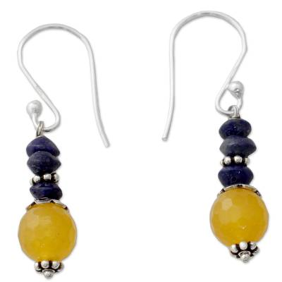 Indian Handcrafted Earrings with Chalcedony and Lapis Lazuli