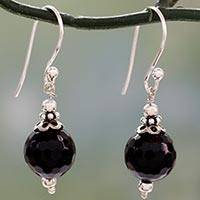 Onyx dangle earrings, 'Glorious Black' - Artisan Crafted Sterling Silver Earrings with Black Onyx