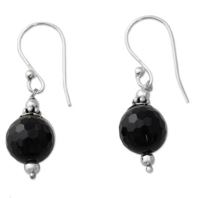 Artisan Crafted Sterling Silver Earrings with Black Onyx