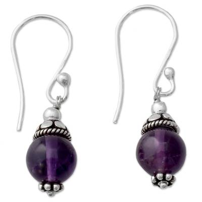 Petite Amethyst Globes Dangle Earrings in Sterling Silver