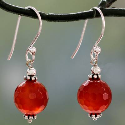 Carnelian dangle earrings, 'Glorious Sunset' - Faceted Carnelian Dangle Earrings with Sterling Silver