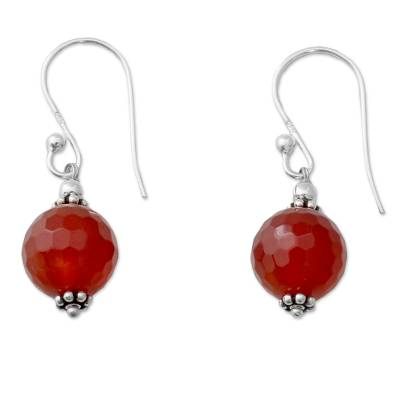 Handcrafted Carnelian Dangle Earrings with Sterling Silver