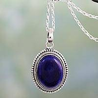 Lapis lazuli pendant necklace, 'True Clarity' - Lapis Lazuli Pendant on Artisan Crafted 925 Silver Necklace