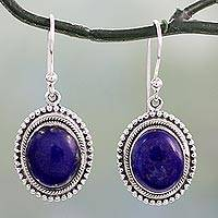 Lapis lazuli dangle earrings, 'True Clarity' - Lapis Lazuli on Artisan Crafted 925 Silver Hook Earrings