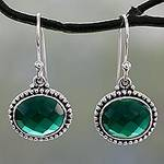 Lush Green Onyx on Sterling Silver Earrings from India, 'Green Transformation'