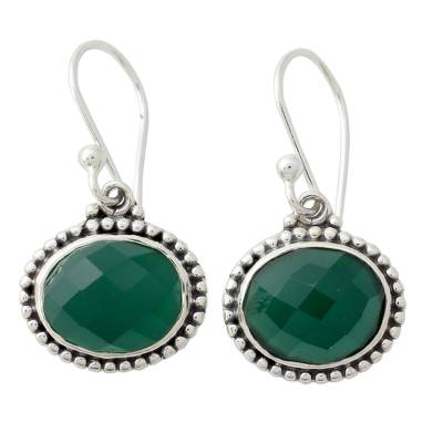 Handcrafted Green Onyx Sterling Silver Earrings from India