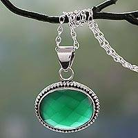 Sterling silver pendant necklace, 'Green Transformation' - Lush Green Onyx Gem on Sterling Silver Necklace from India