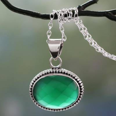 Lush Green Onyx Gem on Sterling Silver Necklace from India