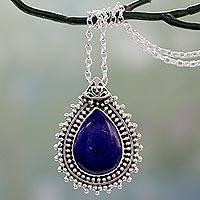 Lapis lazuli pendant necklace, 'Blue Antiquity' - Lapis Lazuli Necklace from India Crafted with 925 Silver