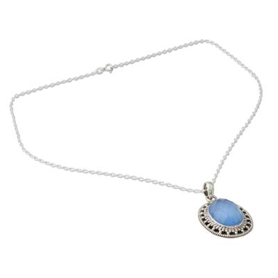 Novica Artisan Crafted Chalcedony Pendant Necklace from India