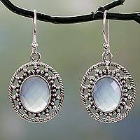 Chalcedony dangle earrings, 'Azure Ice' - Fair Trade Silver Earrings with Pale Blue Chalcedony