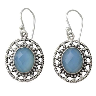 Fair Trade Silver Earrings with Pale Blue Chalcedony