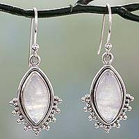 Rainbow moonstone dangle earrings, 'Radiant Gaze' - Indian Sterling Silver Earrings with Rainbow Moonstone