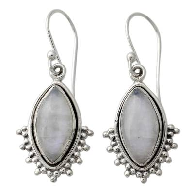 Indian Sterling Silver Earrings with Rainbow Moonstone