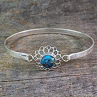 Sterling silver bangle bracelet, 'Star of Gujurat' - Handcrafted Silver Bangle Bracelet with Composite Turquoise