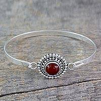 Carnelian bangle bracelet, 'Passionately' - Handcrafted Carnelian and Sterling Silver Bangle Bracelet