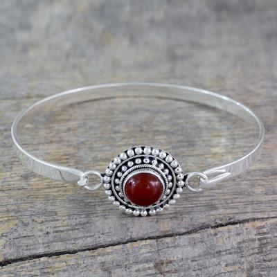 Gift Handmade Jewelry Artisan Boho Carnelian Bracelet 925 Sterling Silver Bracelet Faceted Carnelian Bracelet Carnelian Bracelet