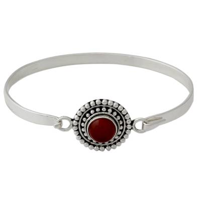 Handcrafted Carnelian and Sterling Silver Bangle Bracelet