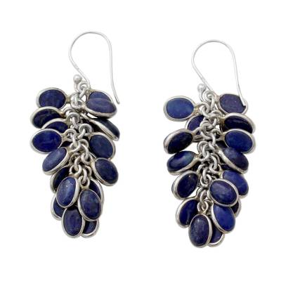 Lapis Lazuli Clusters in Handmade Sterling Silver Earrings