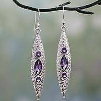 Amethyst dangle earrings, 'Lilac Shield' - Contemporary Indian Dangle Earrings in Silver and Amethyst