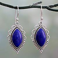 Lapis lazuli dangle earrings, 'Indian Ocean' - Sterling Silver Earrings with Deep Blue Lapis Lazuli Gems