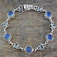 Blue topaz and chalcedony link bracelet, 'Serene Azure' - Blue Topaz Bracelet with Blue Chalcedony and Sterling Silver