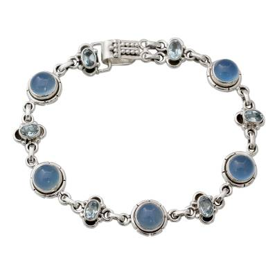 Blue Topaz Bracelet with Blue Chalcedony and Sterling Silver