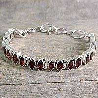 Garnet tennis bracelet, 'Red Marquise' - Garnet and Silver Tennis Bracelet Handcrafted in India