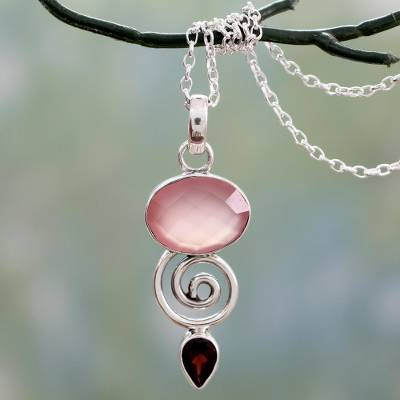 Garnet and chalcedony pendant necklace, 'Romantic Journey' - Indian Silver Necklace with Pink Chalcedony and Garnet